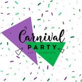 Carnival Concept Banner with mask, stars. Firework Icons on shiny red background Royalty Free Stock Photo