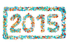 Carnival 2015 confetti and outline isolated Royalty Free Stock Photos