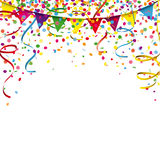 Carnival Confetti Ribbons Festoon. Colored confetti with ribbons and festoon on the white Stock Photography