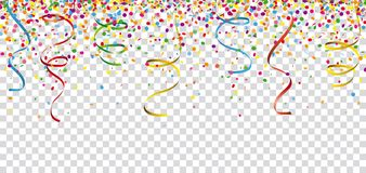 Carnival Confetti Ribbons Header Transparent. Colored confetti with ribbons on the checked background Royalty Free Stock Photos