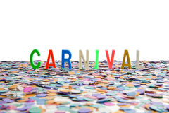 Carnival confetti and text Royalty Free Stock Photo
