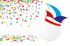 Carnival confetti and traditional cap isolated on a white background vector illustration