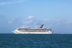 Carnival Conquest Cruise Ship anchors near Belize City Stock Photos