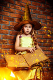Carnival costume. Cute little girl in witch costume with pumpkins. Halloween. Studio shot Stock Image