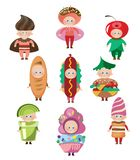 Carnival costumes depicting food and drinks royalty free illustration