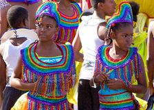 Carnival costumes in Trinidad and Tobago. Two young girls in carnival costumes, Caribbean Royalty Free Stock Photography