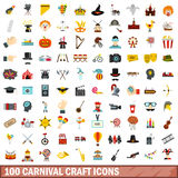 100 carnival craft icons set, flat style. 100 carnival craft icons set in flat style for any design vector illustration Royalty Free Stock Image