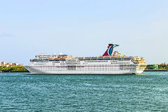 Carnival Cruise Line Ship in the harbour of Miami Stock Image