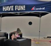 Carnival cruise passanger not having fun stock image