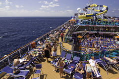 Carnival Cruise Ship - Relaxing on Deck Stock Photography