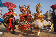 Carnival culture. Children follow the carnival culture in a village in the city of Solo, Central Java, Indonesia stock image