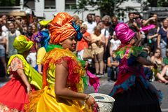 Carnival of Cultures. Berlin. Germany. BERLIN - JUNE 09, 2019: The annual Carnival of Cultures Karneval der Kulturen celebrated around the Pentecost weekend stock image