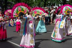 Carnival of Cultures. Berlin. Germany. BERLIN - JUNE 09, 2019: The annual Carnival of Cultures Karneval der Kulturen celebrated around the Pentecost weekend stock photos