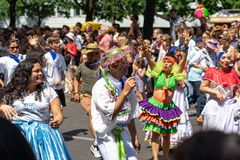 Carnival of Cultures. Berlin. Germany. BERLIN - JUNE 09, 2019: The annual Carnival of Cultures Karneval der Kulturen celebrated around the Pentecost weekend stock photo