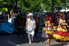 Carnival of Cultures. Berlin. Germany. BERLIN - JUNE 09, 2019: The annual Carnival of Cultures Karneval der Kulturen celebrated around the Pentecost weekend royalty free stock images