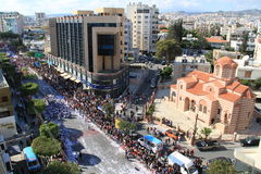 Carnival in Cyprus. Limassol, Cyprus - March 17, 2013: Annual Carnival Procession passing in Limassol stock photo