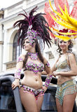 Carnival dancer. WARSAW, POLAND, AUGUST 26: Unidentified Carnival dancer on the parade on Warsaw Multicultural Street Parade on August 26, 2012 in Warsaw, Poland Stock Photo