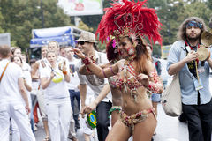 Carnival dancer. WARSAW, POLAND, AUGUST 26: Unidentified Carnival dancer on the parade on Warsaw Multicultural Street Parade on August 26, 2012 in Warsaw, Poland Stock Photography