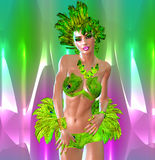 Carnival Dancer against colorful background Royalty Free Stock Photos