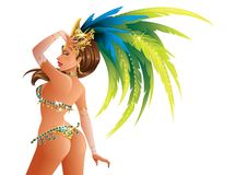 Carnival Dancer. A beautiful carnival girl wearing a festival costume is dancing Royalty Free Stock Image