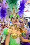 A carnival dancer from the group La Sal de Torrevieja. A dancer from the La Sal de Torrevieja carnival troupe during FITUR 2016 at IFEMA stock photo
