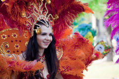 Carnival dancer on the parade Royalty Free Stock Photos
