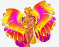 Carnival dancer woman in colorful feathers and headdress. Royalty Free Stock Images