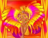 Carnival dancer woman in colorful feathers and headdress. Royalty Free Stock Image
