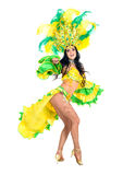 Carnival dancer woman dancing. Against isolated white background Stock Photography