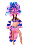 Carnival dancer woman dancing. Against isolated white background Royalty Free Stock Photos