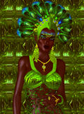Carnival dancer woman in green feathers and headdress. Royalty Free Stock Photography
