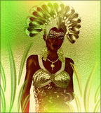 Carnival dancer woman in green feathers and headdress. Dances in front of a colorful abstract background that matches her outfit. Perfect for party scenes Royalty Free Stock Images