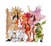 Carnival dancers dancing against isolated white Royalty Free Stock Photo