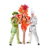 Carnival dancers dancing against isolated white Stock Photography