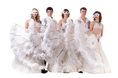 Carnival dancers team a mask dancing, isolated on Stock Image