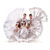 Carnival dancers team a mask dancing, isolated on Royalty Free Stock Photo