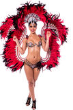 Carnival dancing starting soon. Sexy woman in a colorful carnival costume Royalty Free Stock Photography