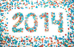 Carnival 2014 date confetti isolated Stock Photos