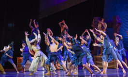"""Carnival on deck-Dance drama """"The Dream of Maritime Silk Road"""". Dance drama """"The Dream of Maritime Silk Road"""" centers on the plot of two generations of a Stock Image"""