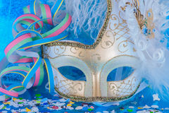 Carnival. Decoration on blue background royalty free stock photography