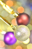 Carnival decoration, colored balls on bokeh Royalty Free Stock Image