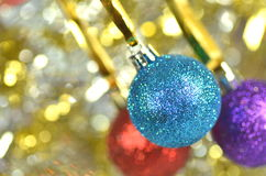Carnival decoration, colored balls on bokeh Royalty Free Stock Photos