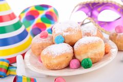 Carnival decoration and donuts Stock Photo
