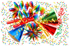 Carnival decoration garlands, streamer, confetti Stock Photography