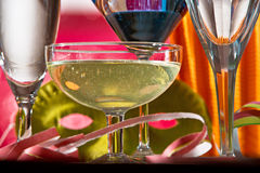 Carnival Decoration With Wine Glass Stock Images