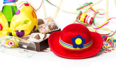 Carnival decorations, chocolates and champagne Stock Photography