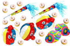 Carnival. Decorations on white background with donuts Stock Photo