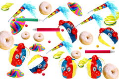 Carnival. Decorations on white background with donuts Stock Photos