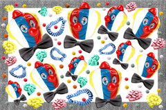 Carnival. Decorations on white background and gray frame Royalty Free Stock Photos