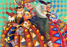 Carnival. Decorative composition with painting of lady in costume of 18 centure Royalty Free Stock Images